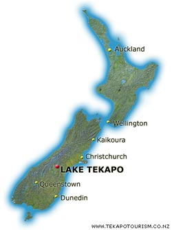 Finding and travelling to Lake Tekapo, including Tekapo maps with ...