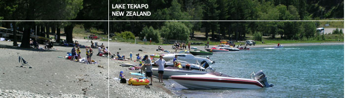Boating on the beach at Lake Tekapo