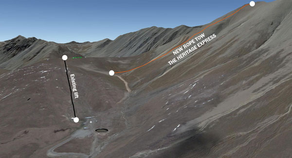 A Google Earth view of the new lift at Roundhill Ski Area